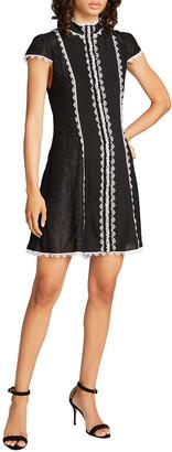 Alice + Olivia Alyse High-Neck Mini Fit-&-Flare Dress