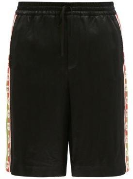 Gucci Logo-jacquard Striped Satin Shorts - Black