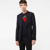 Paul Smith Men's Tailored-Fit Navy And Grey Muted-Check Merino Wool Blazer