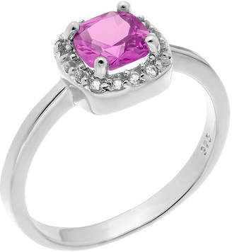 FINE JEWELRY Cushion-Cut Lab-Created Pink Sapphire and Genuine White Topaz Sterling Silver Ring