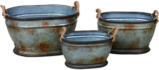Transpac Set Of 3 Metal Silver Spring Nested Oval Planters