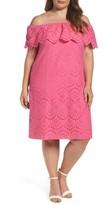 Eliza J Plus Size Women's Off The Shoulder Eyelet Shift Dress