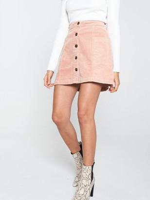 Very Cord Button Through Mini Skirt - Dusty Pink