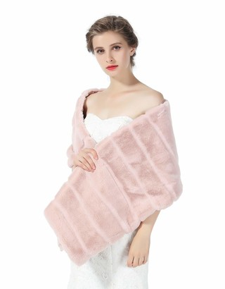 BEAUTELICATE Faux Fur Shawl Bridal Wrap for Women Wedding Stole Bridesmaids Cape Shrug Winter Cover Up Dusty Rose