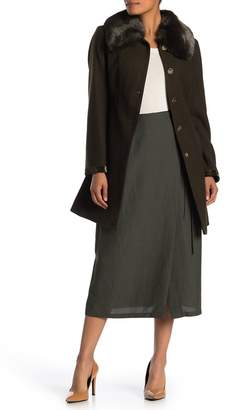 Laundry by Shelli Segal Faux Fur Trim Wool Blend Coat