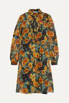 Prada Floral-print Silk-crepon Mini Dress - Orange