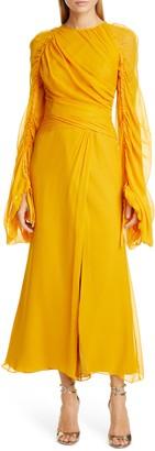 Flor et. al Monclova Long Sleeve Silk Chiffon Gown