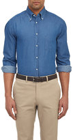 Brunello Cucinelli Men's Chambray Shirt-BLUE