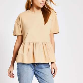 River Island Womens Beige short sleeve smock peplum T-shirt