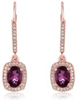 Effy Jewelry Effy Bordeaux 14K Rose Gold Rhodolite Garnet and Diamond Earrings, 2.21 TCW
