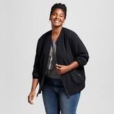 Women's Plus Size Bomber Jacket Black - Ava & Viv