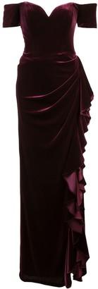 Badgley Mischka Off-shoulder ruffle gown