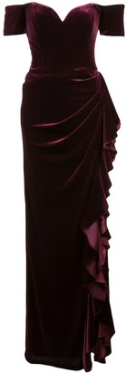 Badgley Mischka Off-shoulder ruffle gown