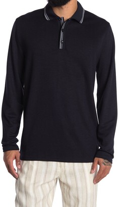 Reiss Spencer Pique Topped Long Sleeve Knit Polo