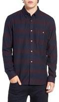 French Connection Men's Trim Fit Stripe Flannel Sport Shirt