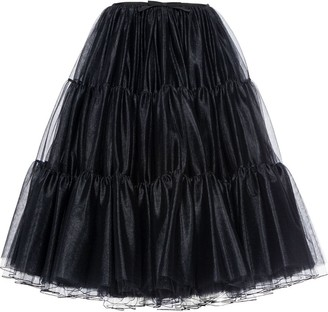 Miu Miu Ruched Tulle Flared Skirt