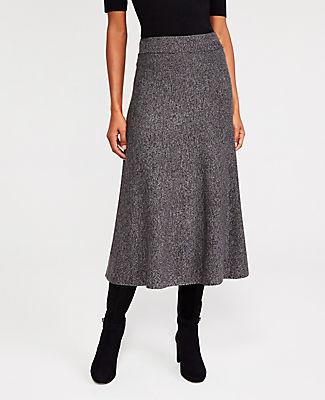 Ann Taylor Marled A-Line Midi Full Skirt