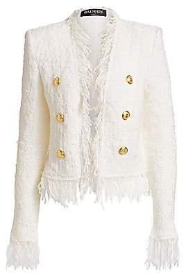 Balmain Women's Short Fringe Tweed Jacket