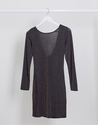 I SAW IT FIRST cowl neck glitter midi dress in grey