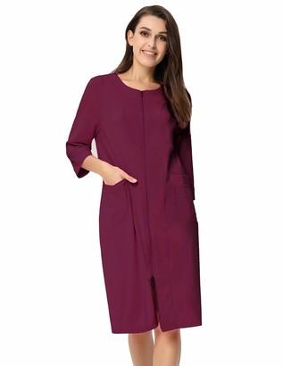 Zexxxy Women Dressing Gown Loungewear Casual Straight Zipper Pajamas Robe with Pockets Grey L