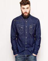 Wrangler Denim Shirt Slim Fit City Western Dark Indigo