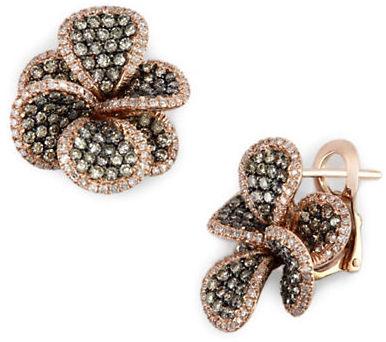 291 EFFY Espresso Brown Diamond Flower Earrings in 14 Kt. Rose Gold, ct. t.w.