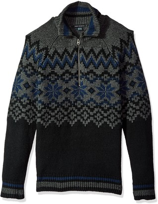 French Connection Men's Ski Fairisle Half Zip Sweater Grey iris/Black Melange XL