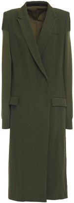 Haider Ackermann Double-breasted Paneled Linen And Wool Coat