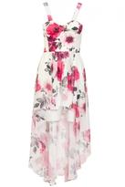 Quiz Cream And Pink Flower Print Dip Hem Dress