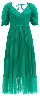 Self-Portrait Pleated-chiffon Midi Dress - Green
