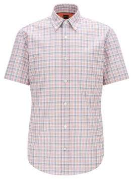 BOSS Slim-fit shirt in checked fil-a-fil cotton