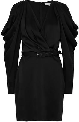 Jonathan Simkhai Black pleated sleeve satin mini dress