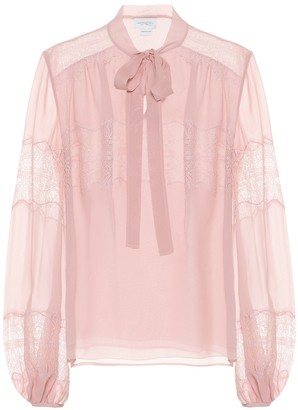 Giambattista Valli Silk-chiffon pussy-bow blouse