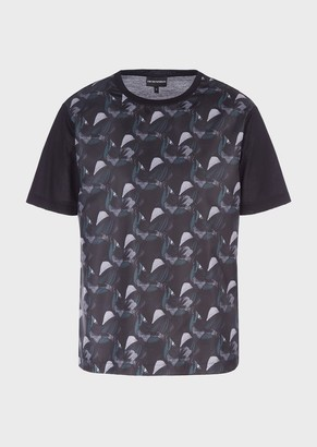Emporio Armani Mercerised Jersey T-Shirt With Decorative Print