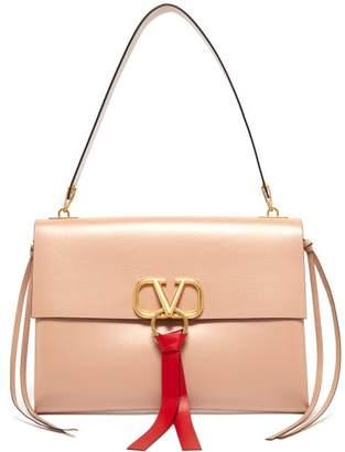 Valentino V Ring Leather Shoulder Bag - Womens - Nude