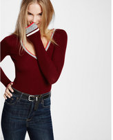 Express marl tipped ribbed v-neck sweater