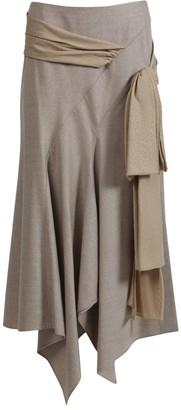 Chloé Draped Asymmetric Midi Skirt
