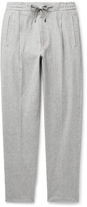Lardini Slim-Fit Pleated Striped Cotton-Blend Drawstring Trousers