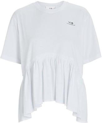 Victoria Victoria Beckham Flounce Hem Logo T-Shirt