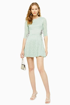 Topshop Womens Mint Lace Mini Dress - Mint