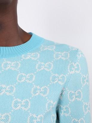 Gucci Pastel Hued Wool Jacquard Logo Print Sweater Light Blue