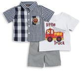 Nannette Fire Truck Sportshirt, Tee and Shorts Set