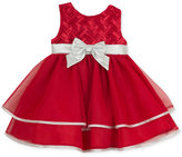 Rare Editions Baby Girls' Red & Silver Party Dress