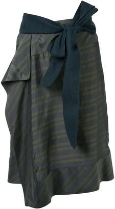 A.F.Vandevorst Horizontal-Stripes Wraparound Skirt