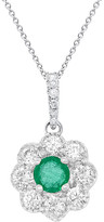 Diana M Fine Jewelry 14K 0.44 Ct. Tw. Diamond & Emerald Necklace