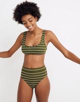 Madewell Ribbed High-Cut Bikini Bottom in Stripe