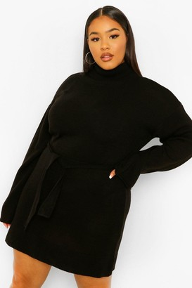 boohoo Plus High Neck Belted Jumper Dress