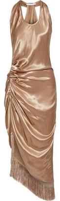 Helmut Lang Asymmetric Fringed Ruched Satin Midi Dress