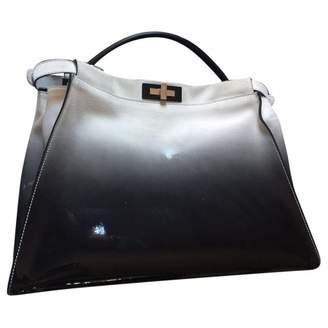 Fendi Peekaboo Grey / Black Patent leather Handbags