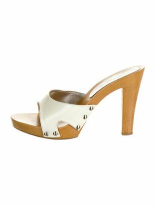 Dolce & Gabbana Patent Leather Cutout Accent Slides White